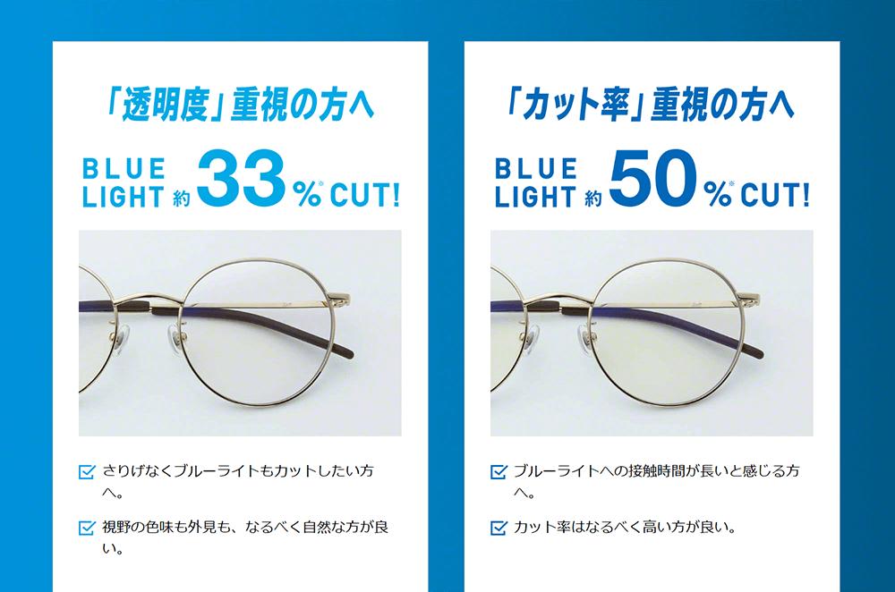 zoff  ブルーライトカット レンズ メガネ 33% 50% 黄色 色被り 眼精疲労 睡眠障害