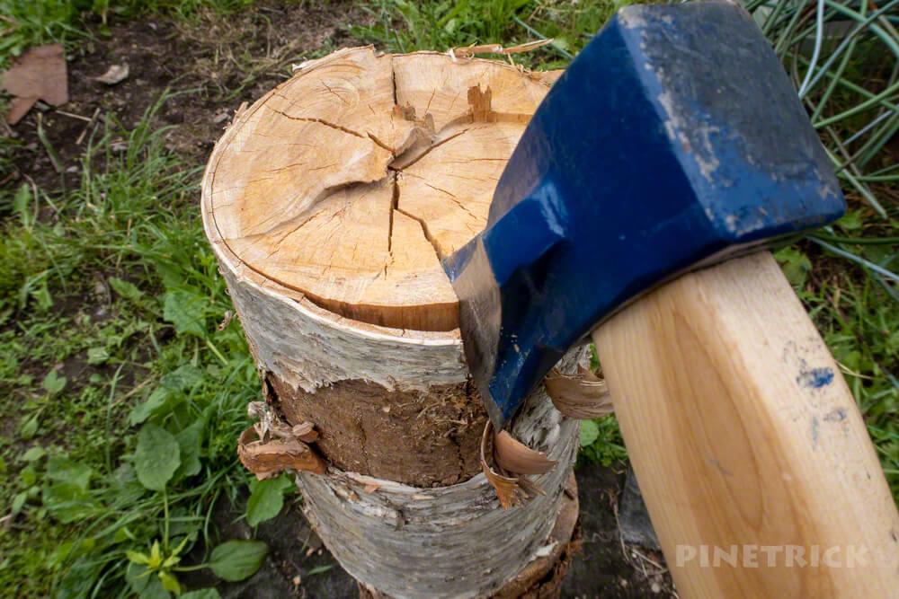 薪割り 斧 ヘルコ 乾燥 白樺 キャンプ 斧