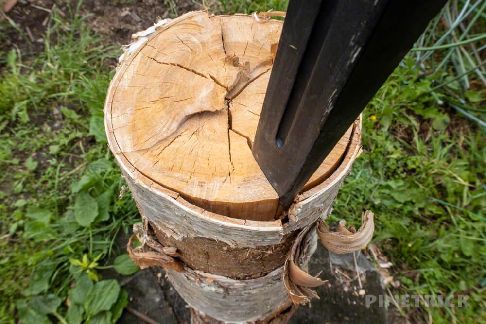 薪割り 斧 ヘルコ 乾燥 白樺 キャンプ 斧 楔 くさび