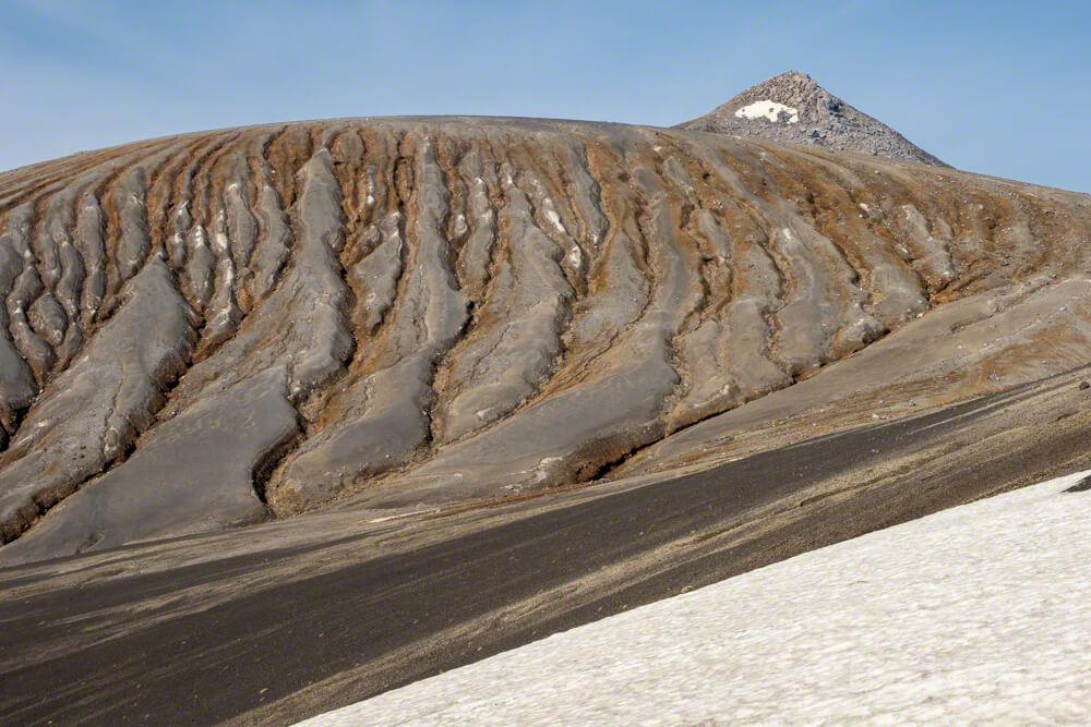 十勝岳連峰 山頂 雨裂 美瑛岳 残雪 雪渓 火山灰 蟻地獄