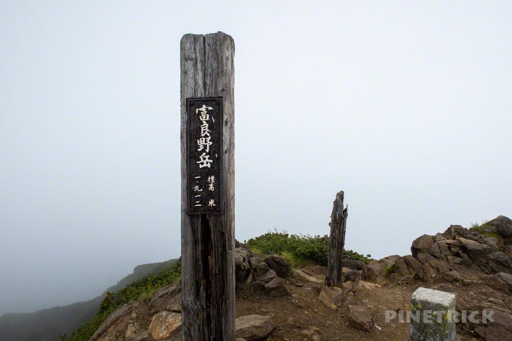 富良野岳 山頂 真っ白 ガス 花の百名山