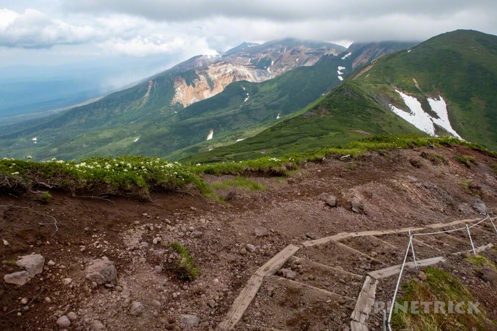 富良野岳 登山 階段 花の百名山 十勝岳