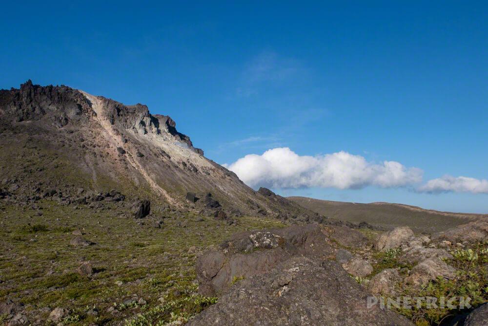 樽前山 溶岩ドーム 噴煙 雲 北海道