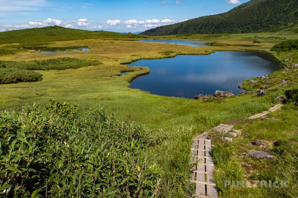 大雪山 当麻岳 当麻乗越 岩場 北海道 登山 愛山渓温泉 沼の平 木道 半月湖