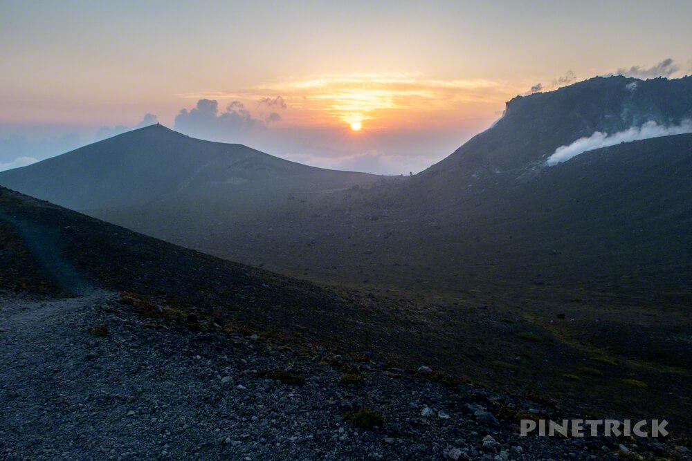 樽前山 北海道 登山 溶岩ドーム 西山 サンセット登山 夕日