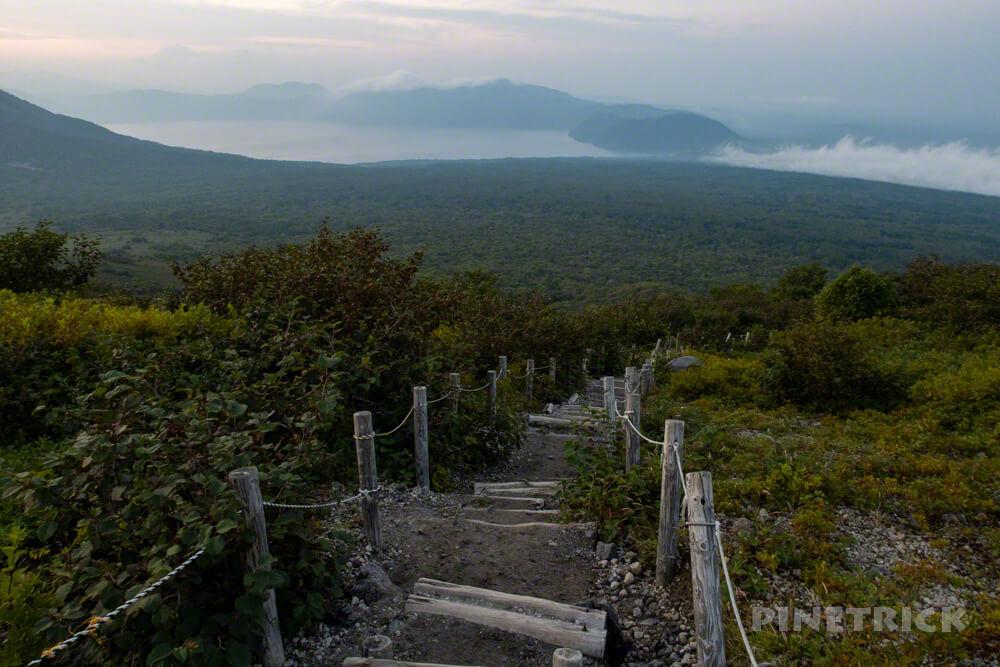 樽前山 登山 支笏湖 木階段 北海道