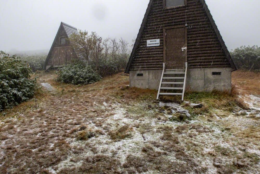 天塩岳 前天塩岳 登山 雪 山頂 旧道コース 北海道 避難小屋 小屋泊