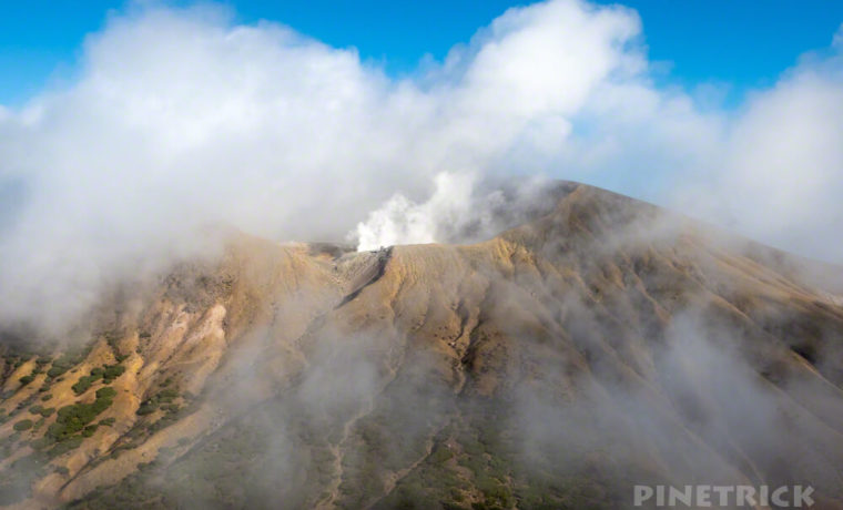 阿寒富士 雌阿寒岳 噴煙 硫黄ガス 山頂 登山 北海道 天気
