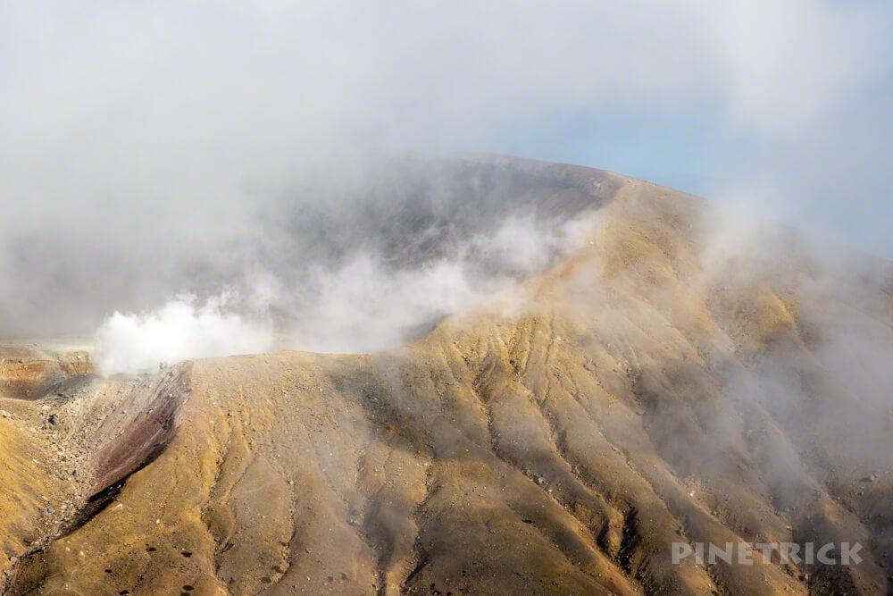 阿寒富士 オンネトー野営場 北海道 山頂 登山 雌阿寒岳 噴煙 硫黄