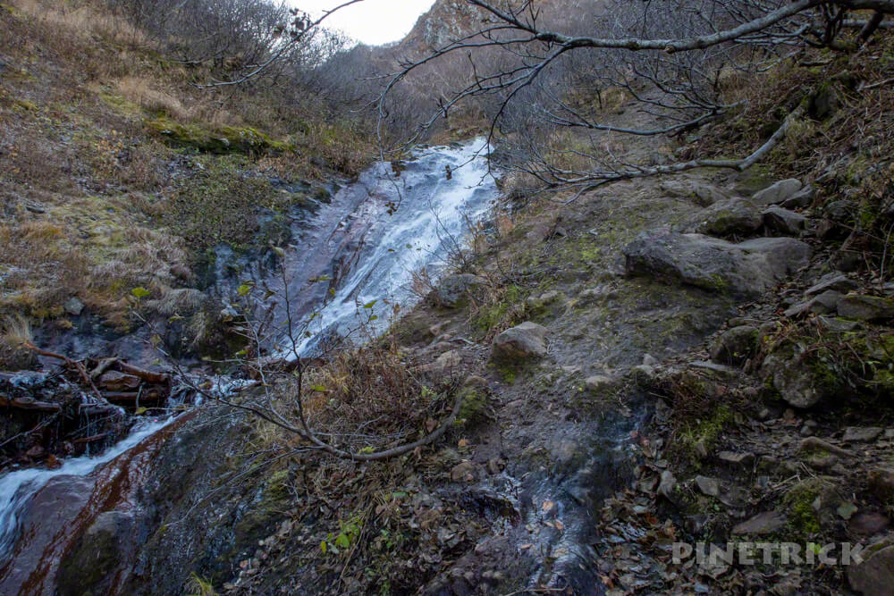 斜里岳 登山 北海道 旧道 滝登り 凍結