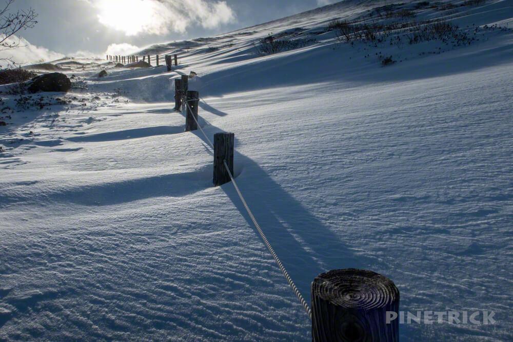 樽前山 登山 冬山 北海道 木階段