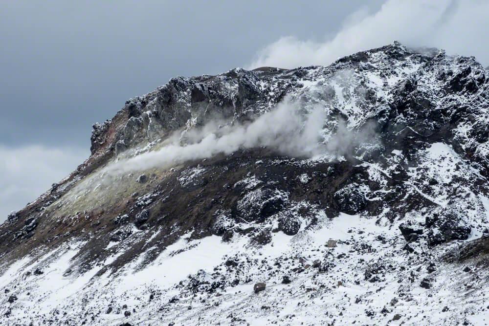 樽前山 溶岩ドーム 噴煙 北海道 登山 冬山