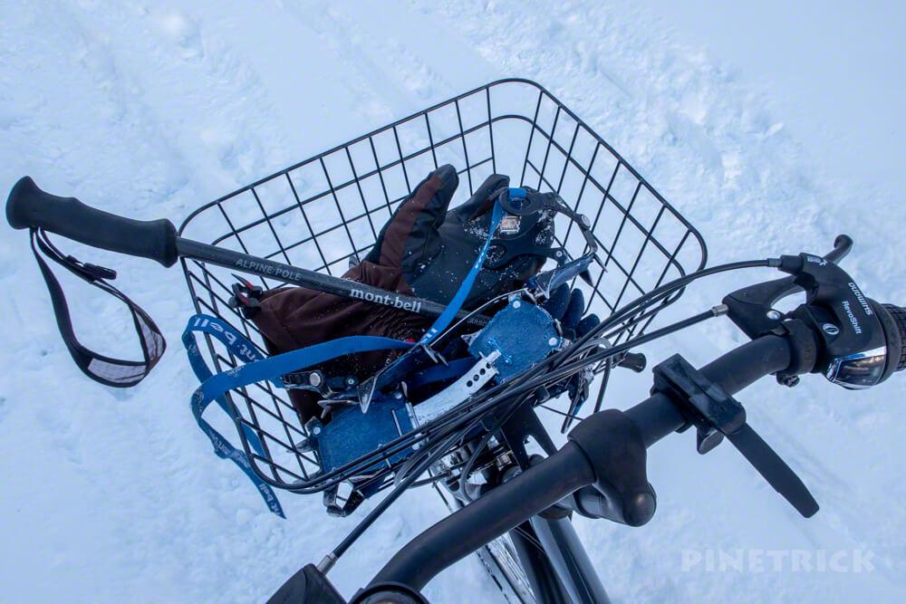 樽前山 軽アイゼン モンベル 手袋 ポール 自転車 冬山