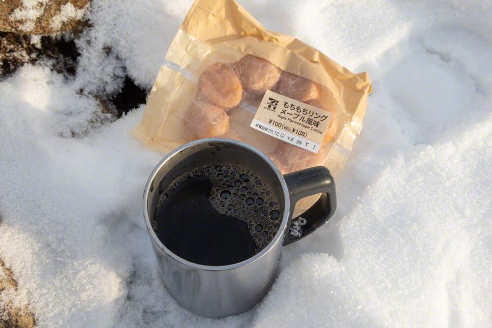 風不死岳 山頂コーヒー 菓子パン ポンデリング