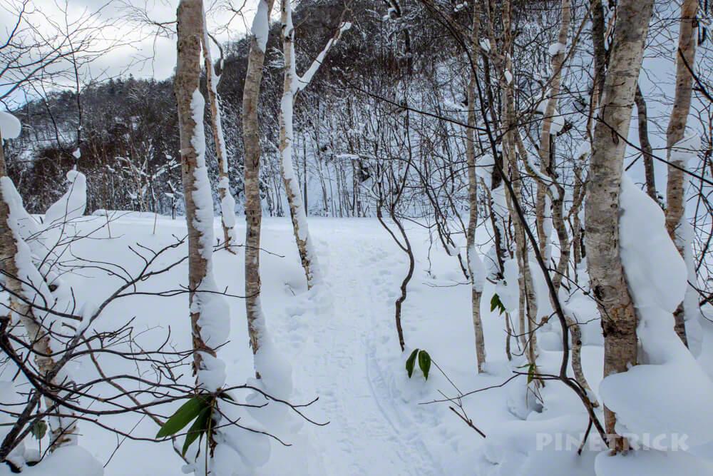 オコタンぺ山 取付き 登山 冬山