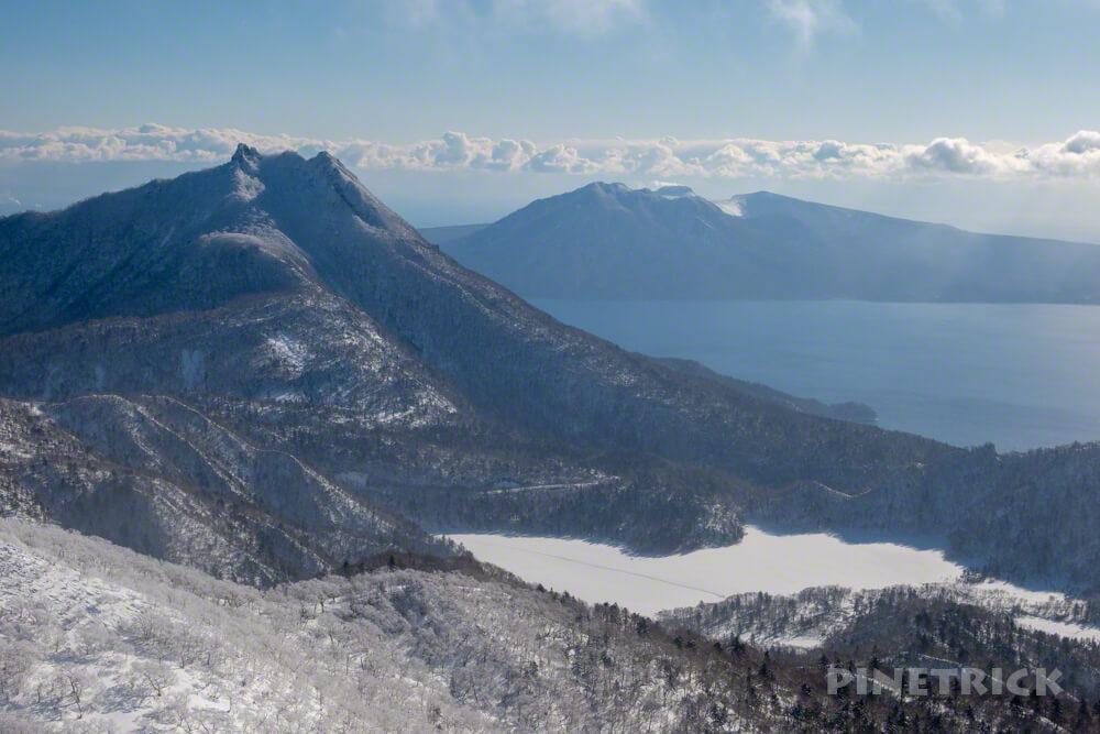 漁岳 林道 冬山 登山 北海道 山頂 恵庭岳 支笏湖 オコタンぺ湖