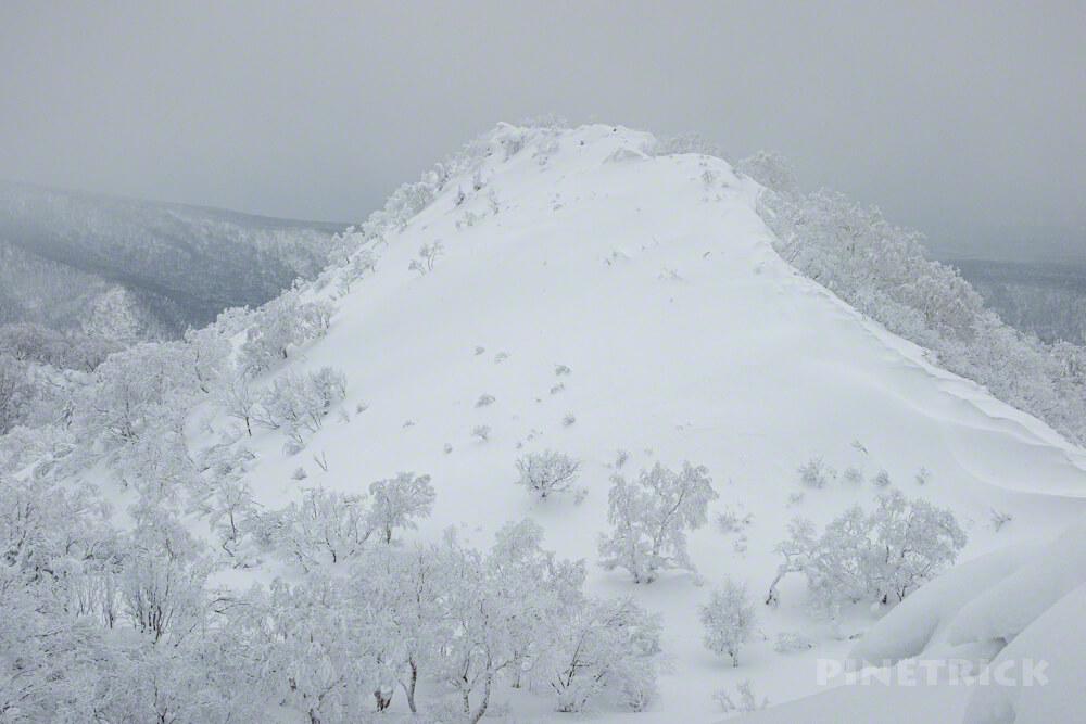 風不死岳 北尾根 冬山 北海道 登山 樹氷 偽ピーク
