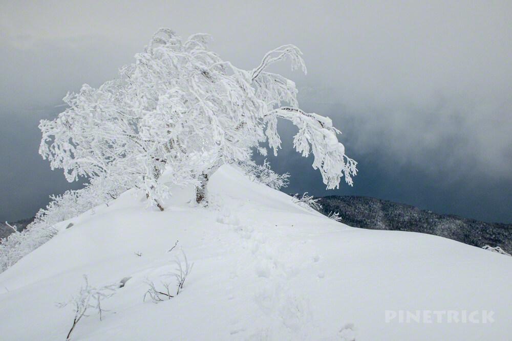 風不死岳 北尾根 冬山 北海道 登山 樹氷