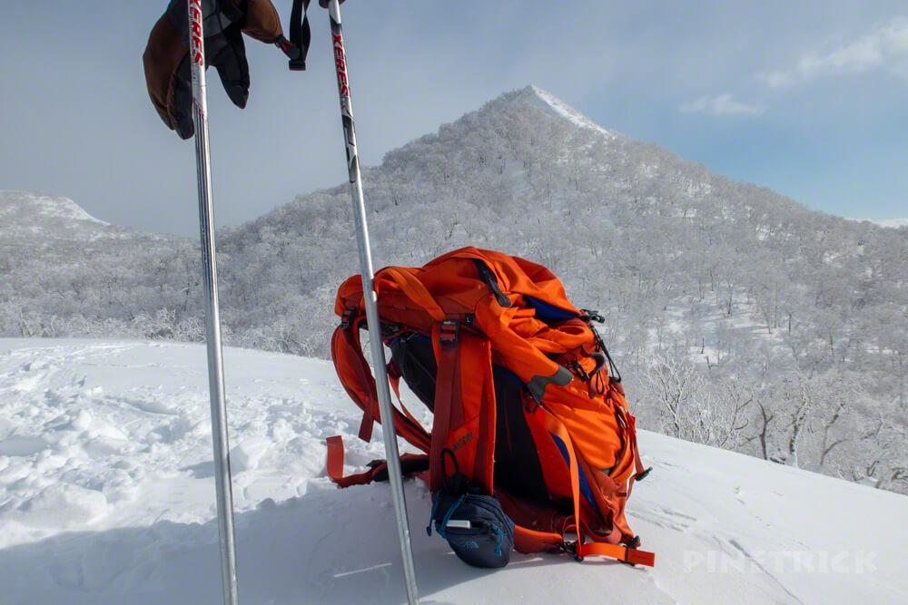 白老岳 登山 北海道 冬山 スノーシュー ザック