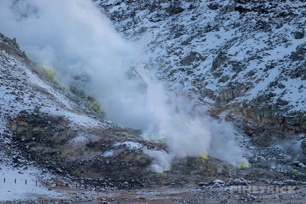 川湯温泉 硫黄山 噴煙