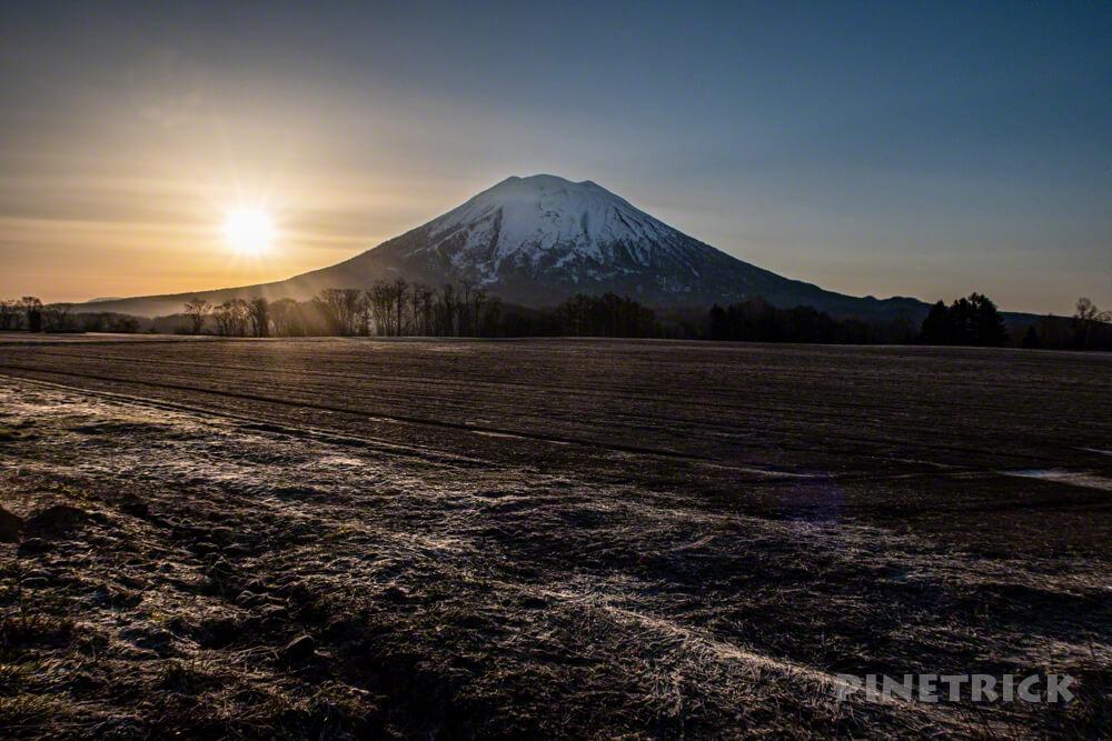 羊蹄山 ニセコ 北海道 朝日 畑